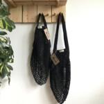 Τσάντα δίχτυ με μακριά λαβή από βιολογικό βαμβάκι – Black