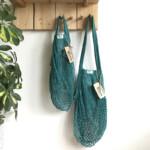 Τσάντα δίχτυ με μακριά λαβή από βιολογικό βαμβάκι – Teal – Casa Organica