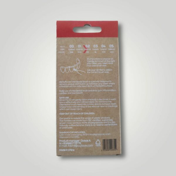Bemyflower μεσοδόντια από φυσικό μπαμπού Red 0.50mm