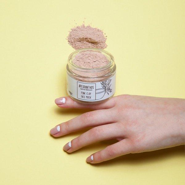 Apeiranthos Pink clay mask | Pink clay + Charcoal 50gr